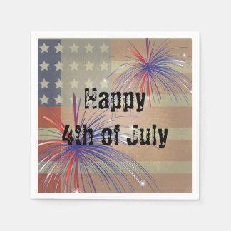 4to feliz del estilo del vintage de julio el | servilletas desechables