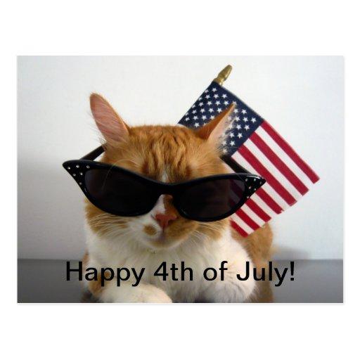 4to feliz del gato fresco de julio con la postal d