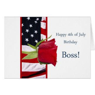 4to feliz del jefe subió cumpleaños de julio tarjeta de felicitación