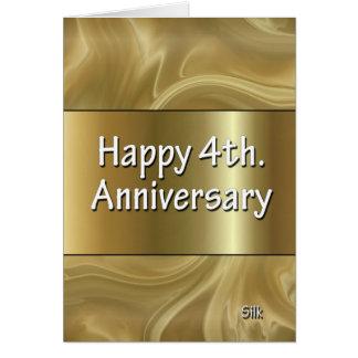 4to feliz Seda del aniversario de boda Felicitacion