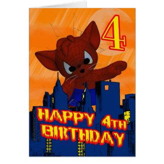 4to Gato de la araña del cumpleaños cuarta tarjet