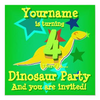 4to Invitaciones del fiesta del dinosaurio del Invitación 13,3 Cm X 13,3cm