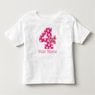 4to Los chicas de la mariposa del cumpleaños Camiseta De Bebé