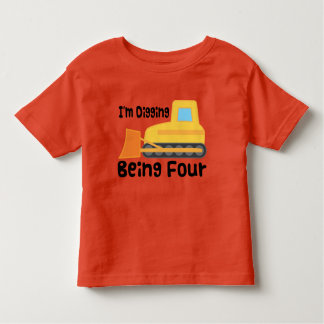 4to Niño del camión de la construcción de la Camiseta De Bebé