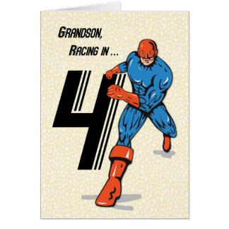 4to super héroe del cumpleaños del nieto tarjeta de felicitación