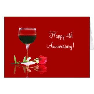 4to vino feliz del aniversario de boda y tarjeta