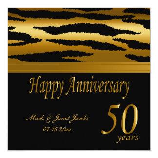 50.a cebra feliz del aniversario de boda de oro el invitación 13,3 cm x 13,3cm