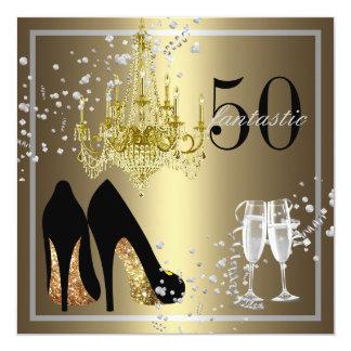 50.a celebración del cumpleaños de la mujer invitación 13,3 cm x 13,3cm