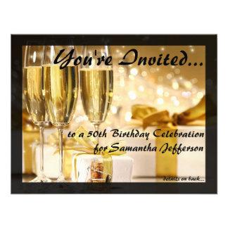 50.a fiesta de cumpleaños burbujeante dorada comunicado personal