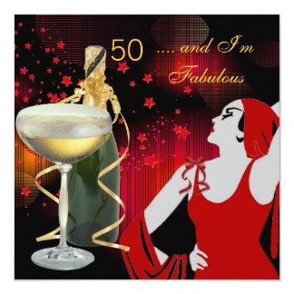 50.a fiesta de cumpleaños de 50 divas Champán Invitación 13,3 Cm X 13,3cm