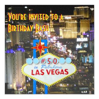 50.a fiesta de cumpleaños de Las Vegas Invitación 13,3 Cm X 13,3cm