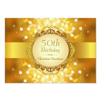 50.a fiesta de cumpleaños de oro de Bokeh Invitación 12,7 X 17,8 Cm