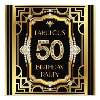 50.a fiesta de cumpleaños del art déco invitación 13,3 cm x 13,3cm
