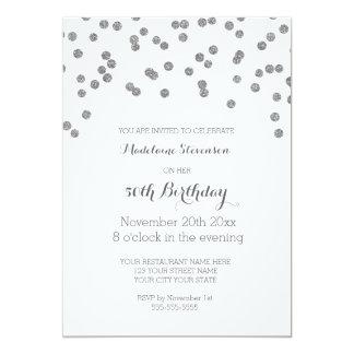 50.a fiesta de cumpleaños del confeti de plata invitación 12,7 x 17,8 cm