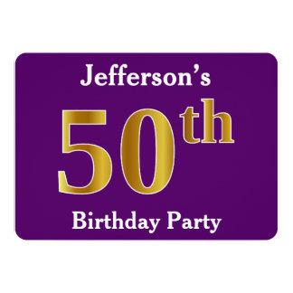 50.a fiesta de cumpleaños del oro púrpura, falso; invitación 12,7 x 17,8 cm