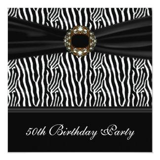 50.a fiesta del cumpleaños de la cebra de la mujer invitación 13,3 cm x 13,3cm