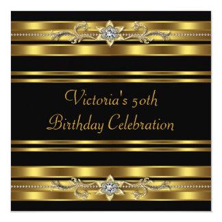 50.a fiesta del cumpleaños de la mujer negra del invitación 13,3 cm x 13,3cm