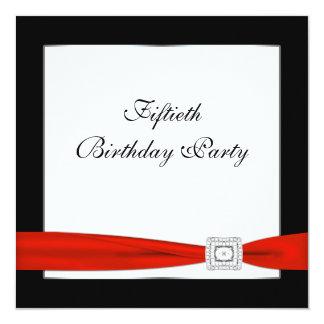 50.a fiesta del cumpleaños de la mujer roja negra invitación 13,3 cm x 13,3cm