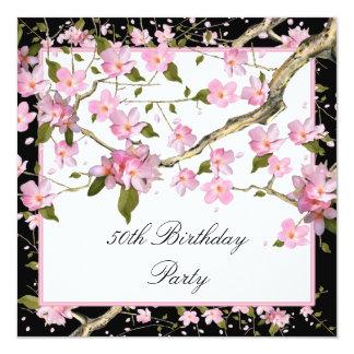50.a fiesta del cumpleaños de la mujer rosada de invitación 13,3 cm x 13,3cm