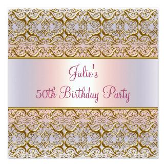 50.a fiesta del cumpleaños de la mujer rosada invitaciones personalizada