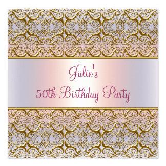 50.a fiesta del cumpleaños de la mujer rosada púrp invitaciones personalizada