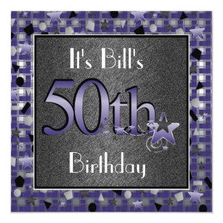 50.a fiesta del cumpleaños de los HOMBRES Invitación 13,3 Cm X 13,3cm
