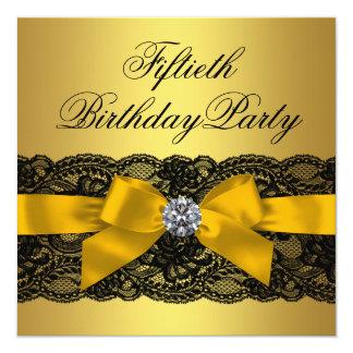 50.a fiesta del cumpleaños del cordón de la mujer invitación 13,3 cm x 13,3cm