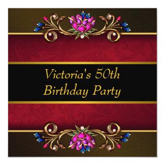 50.a fiesta del cumpleaños del damasco del negro invitación 13,3 cm x 13,3cm