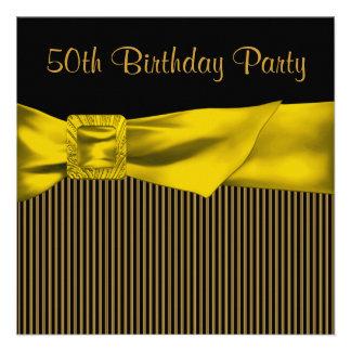 50.a fiesta del cumpleaños del oro de la mujer neg invitaciones personales