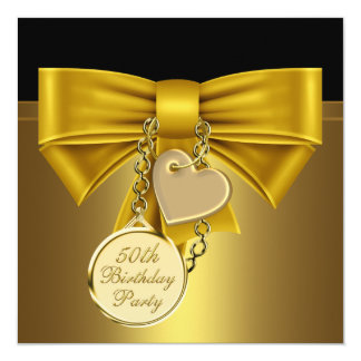 50.a fiesta del cumpleaños del oro del corazón de invitación 13,3 cm x 13,3cm