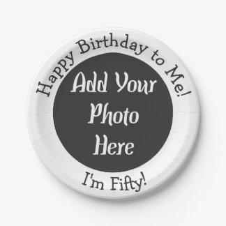 50.a foto personalizada del cumpleaños plato de papel