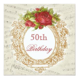 50.a hoja de música del marco del rosa rojo del invitación 13,3 cm x 13,3cm