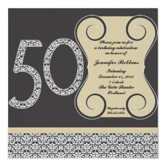 50.a invitación blanco y negro del cumpleaños