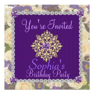 50 a invitación Bling del cumpleaños de las mujere