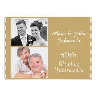 50 a invitación de oro del aniversario de boda
