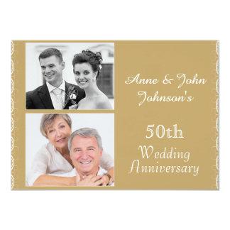 50.a invitación de oro del aniversario de boda