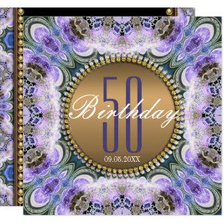 50.a invitación del cumpleaños del bohemio púrpura