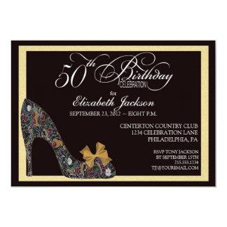 50.a invitación del cumpleaños del zapato floral