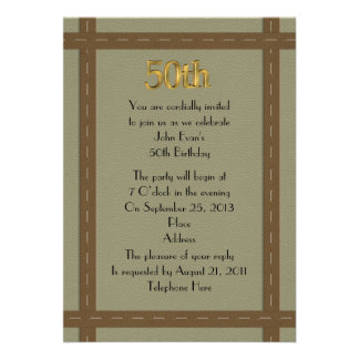 50 a invitación del cumpleaños para el hombre