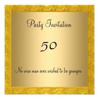 50 a invitación elegante del oro del cumpleaños