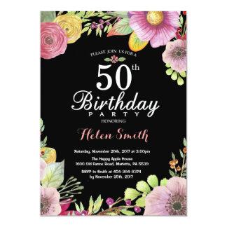 50.a invitación floral del cumpleaños para las