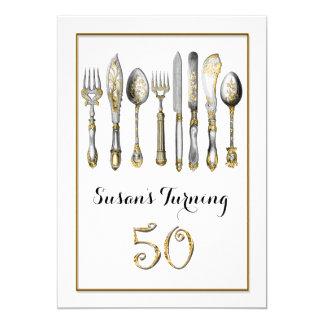 50.a plata del oro del cumpleaños el   de la mujer invitación 12,7 x 17,8 cm