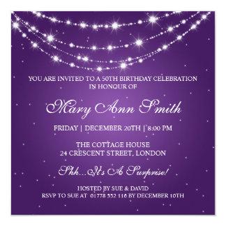 50.a púrpura de cadena chispeante de la fiesta de invitación 13,3 cm x 13,3cm