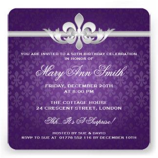 50.a púrpura elegante de la flor de lis de la fies invitacion personal