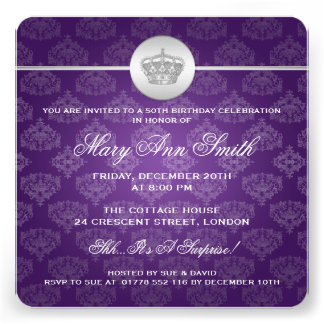 50.a púrpura real elegante de la corona de la fies comunicado personal