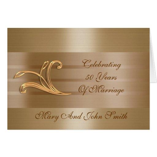 50.a tarjeta del satén del oro de la invitación de