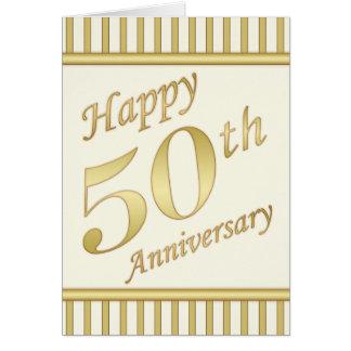 50.a tarjeta feliz de oro del aniversario - rayas