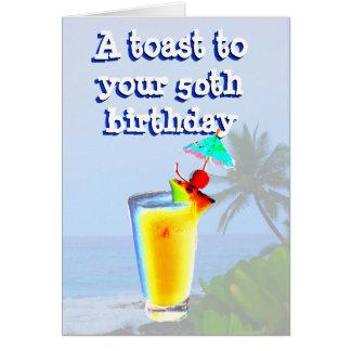 50.a tostada feliz del cumpleaños tarjeta de felicitación