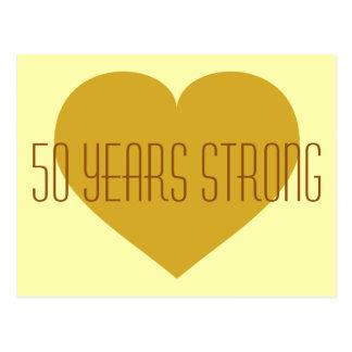 50 años de corazón fuerte del oro sólido postal