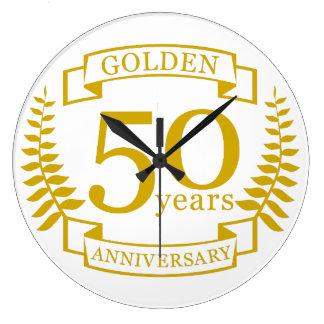 50 años de oro DE ORO de aniversario de boda 50 Reloj Redondo Grande